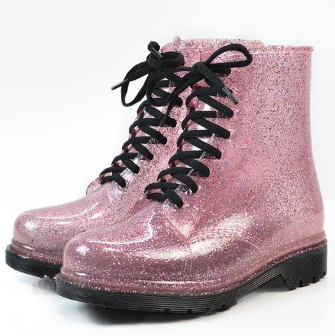 Bottines style rangers roses paillettes translucides - Chaussures - THE FASHION PARADOX