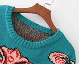 Pull vintage en tricot coloré au motif alien - Top - THE FASHION PARADOX