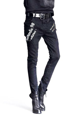 Jean slim taille haute style biker - Pantalons - THE FASHION PARADOX
