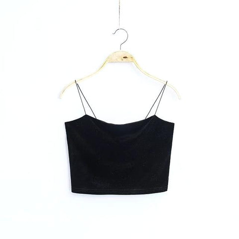Crop top rétro 90's en velours - Top - THE FASHION PARADOX