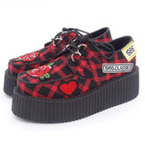 Chaussures à plateformes creepers tartan rouges, grises grunges vintages - Chaussures - THE FASHION PARADOX