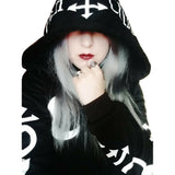 Gilet à capuche sweatshirt noir imprimé occulte blancs witch goth - Top - THE FASHION PARADOX