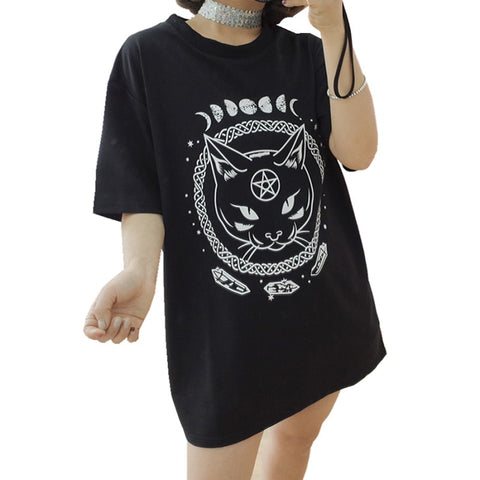 T-shirt oversize noir motif chat noir witch cat lunes et cristaux - T-Shirts - THE FASHION PARADOX