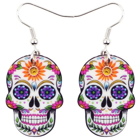 Boucles d'oreille Calavera têtes de morts colorées style mexicain - BIJOUX - THE FASHION PARADOX