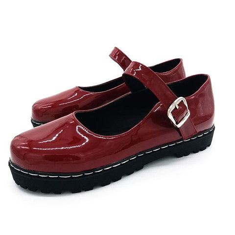 Mocassins rouges bordeaux vernis vintages style mary jane - Chaussures - THE FASHION PARADOX