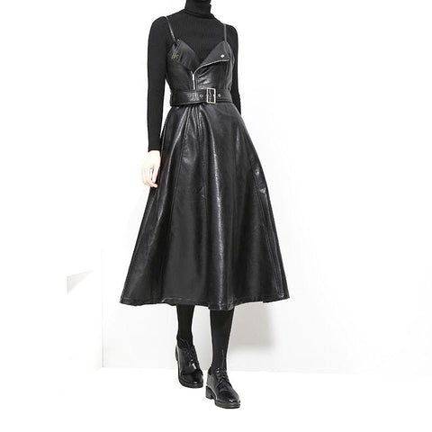 Robe perfecto premium en simili-cuir noir mi-longue - Robes - THE FASHION PARADOX