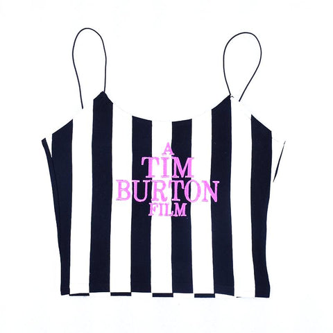 Crop top caraco rayé noir et blanc bretelles, brodé Tim Burton Film - Top - THE FASHION PARADOX