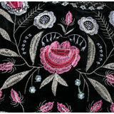 Mini jupe taille haute en velours noir broderies florales - Jupes - THE FASHION PARADOX