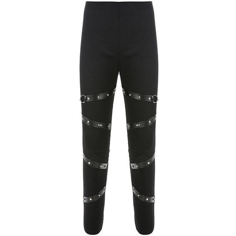 Pantalon leggings slim noir punk rock goth à lanières - Pantalons - THE FASHION PARADOX