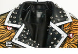 Perfecto blouson en simili cuir punk rock grunge motif zébré et clous - Vestes et manteaux - THE FASHION PARADOX