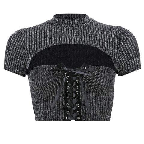 Crop top en maille gris anthracite métallisé décolleté avec laçage - Top - THE FASHION PARADOX
