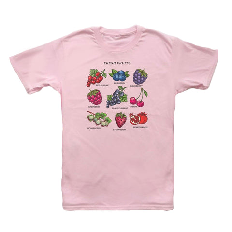 T-shirt droit blanc rose ou jaune motif fruits frais softgirl