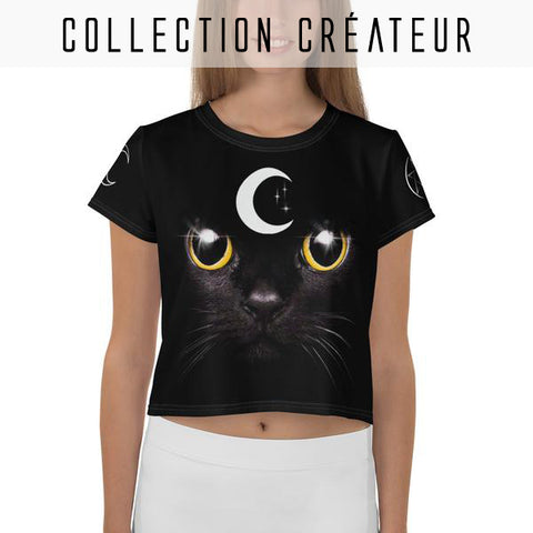 T-shirt crop top noir imprimé chat witch lunes et pentagramme - T-Shirts - THE FASHION PARADOX
