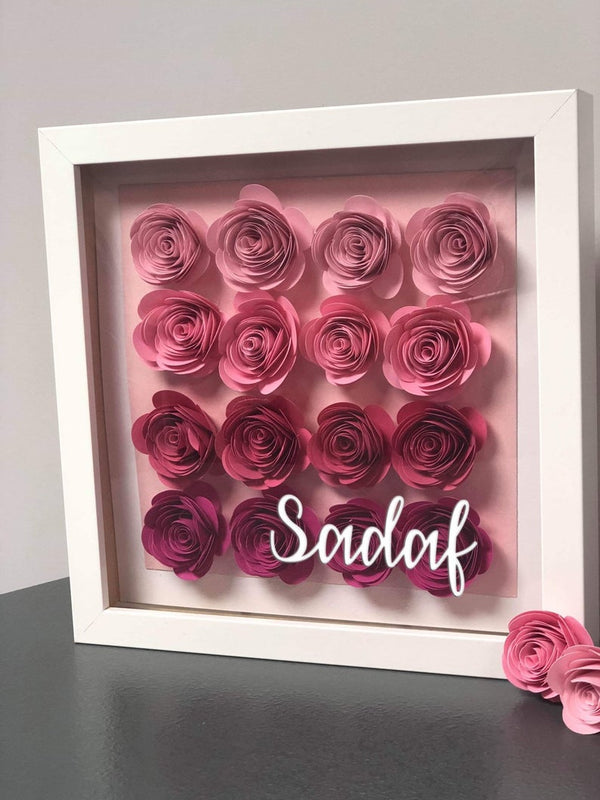 Personalised Paper Rose Flower Shadow Box Frame Bee Free Prints