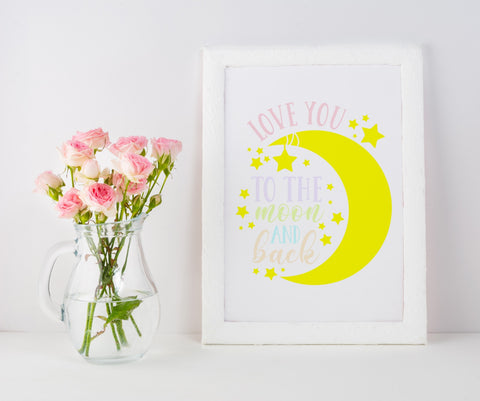 'Love You To The Moon And Back' A4 Frame PinkBee Free Prints