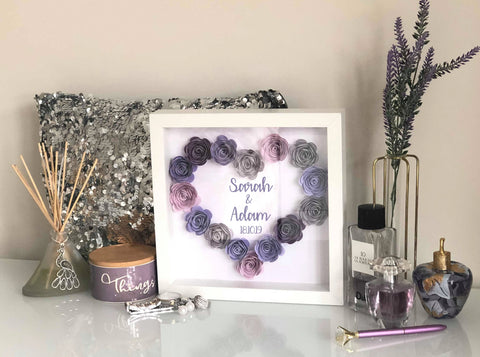Personalised Paper Rose Flower Shadow Box Frame 25 x 25 cm / WhiteBee Free Prints
