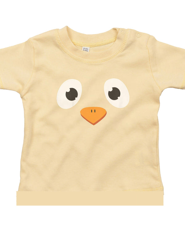 Personalised Baby Easter Chick Face T-Shirt 18-24 / Soft YellowBee Free Prints