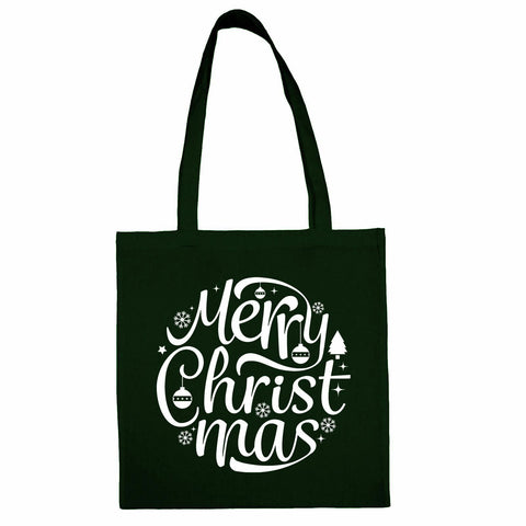 Merry Christmas Totebag Bottle Green / Both Side PrintBee Free Prints