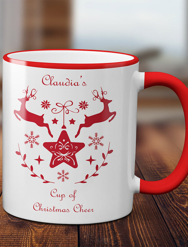Personalised Christmas Cheer Reindeer Mug - 4 Colours Bee Free Prints