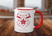 Personalised Christmas Cheer Reindeer Mug - 4 Colours 11 Oz / Two-Tone Red Coloured MugBee Free Prints