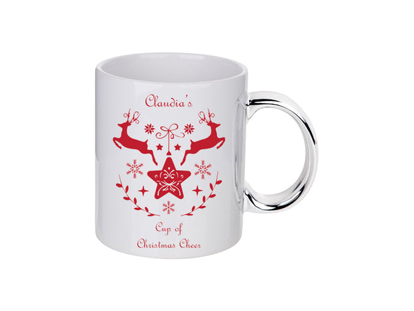 Personalised Christmas Cheer Reindeer Mug - 4 Colours 11 Oz / Silver Handle MugBee Free Prints