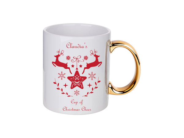 Personalised Christmas Cheer Reindeer Mug - 4 Colours 11 Oz / Gold Handle MugBee Free Prints