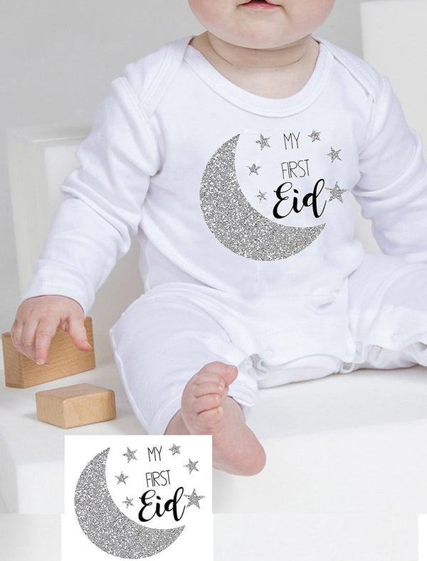 Personalised Babies '1st Eid' Romper With Name Print Bee Free Prints