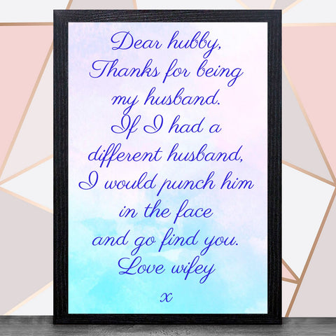 Valentines Day With Frame (Hubby & Wifey ) A4 / Black Framed Print / HubbyBee Free Prints