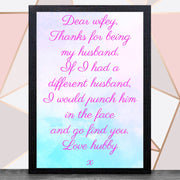 Valentines Day With Frame (Hubby & Wifey ) A4 / Black Framed Print / WifeyBee Free Prints
