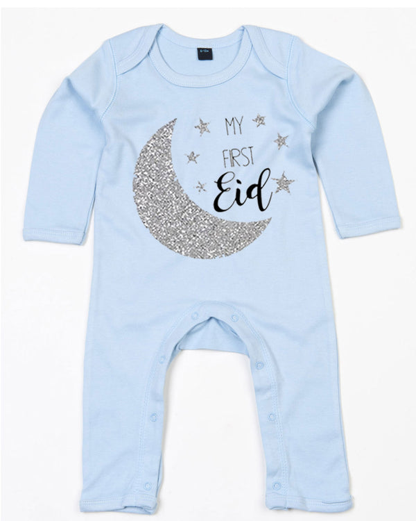 Personalised Babies '1st Eid' Romper With Name Print 12-18 / Dusty BlueBee Free Prints