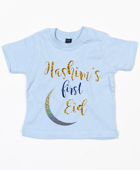 Personalised Babies '1st Eid' T-Shirt With Name Print 18-24 / Dusty BlueBee Free Prints