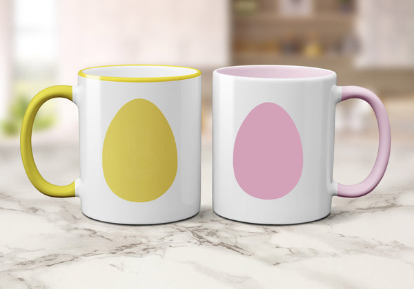 Personalised Easter Egg Mugs (Coloured Rim & Handle Mug) 11 OZ / Set Of Two MugsBee Free Prints