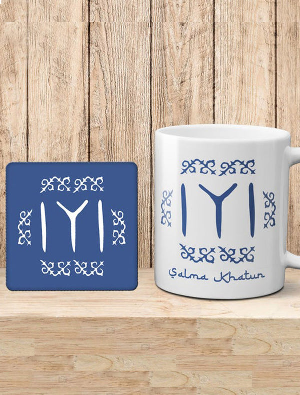 Personalised Diriliu015f Ertuu011frul Theme Kayi Tribe Logo Mug and cork Coaster Gift set Bee Free Prints