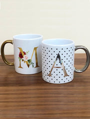 Personalised Floral Letter / Polka Dot Alphabet Shiny Mug Bee Free Prints