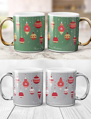 Gold / Silver Handle Merry Christmas Bauble Mug Bee Free Prints