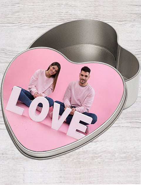 Personalised Photo Heart Shape Tin Gift Box Bee Free Prints