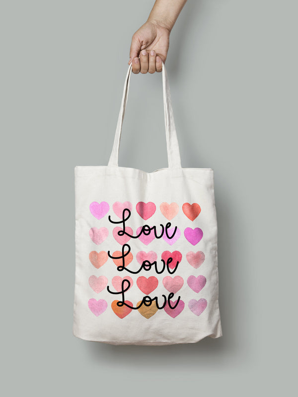 {'Love Love Love' Tote BagOne Size / Front & Back PrintBee Free Prints