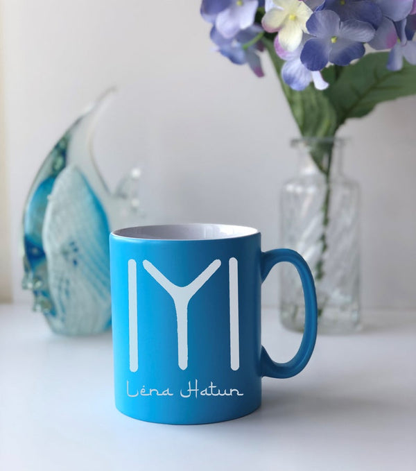 Personalised Ertugrul Theme Kayi Tribe logo mug Eid gift Light Blue / Kayi Logo and NameBee Free Prints
