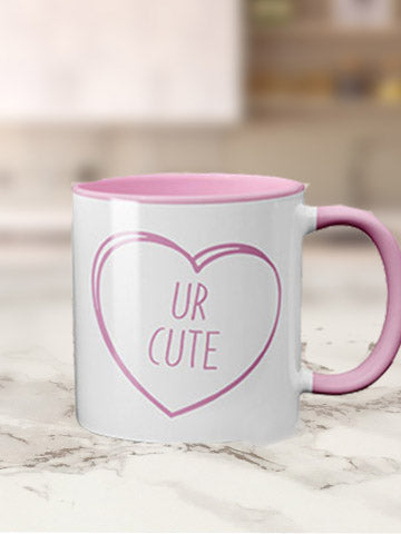 Coloured Inner & Handle Valentines Days Mug Bee Free Prints