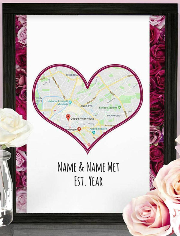 Personalise Valentines Day Map Gift Print Frame - Bee Free Prints