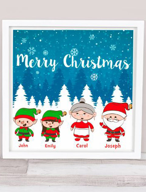 Personalised Merry Christmas Family Frame Bee Free Prints