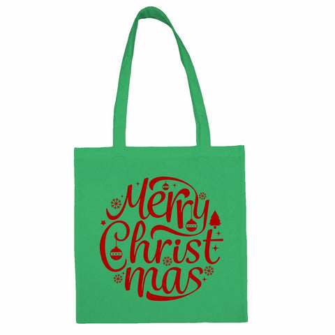 Merry Christmas Totebag Mint / Both Side PrintBee Free Prints