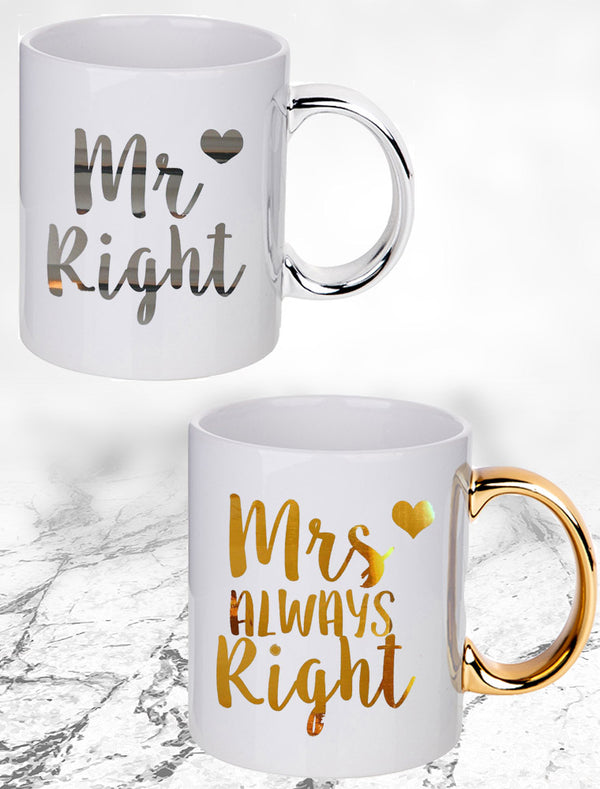 Mr Right & Mrs Always Right Couple Mugs - Set Of 2 Mugs Bee Free Prints