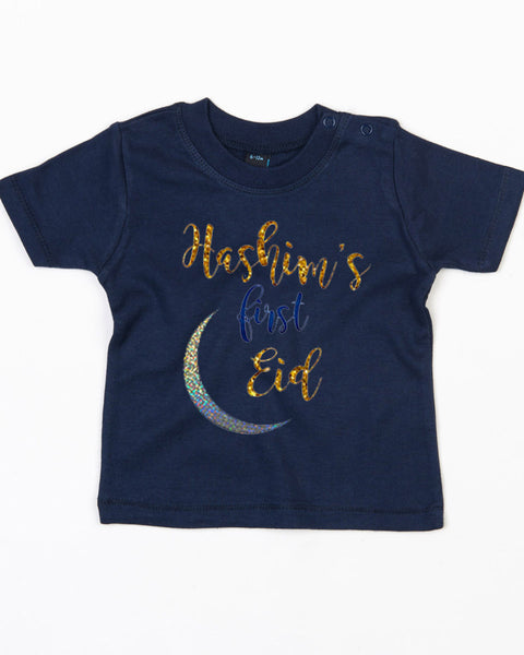 Personalised Babies '1st Eid' T-Shirt With Name Print 18-24 / NavyBee Free Prints