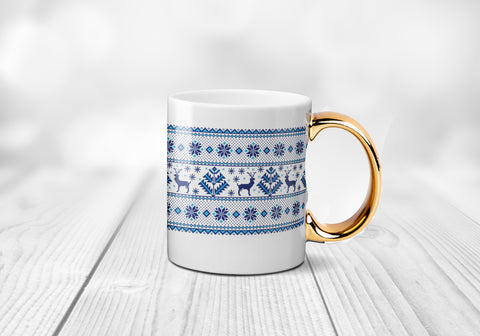 Nordic Pattern Christmas Mug - 3 Colours Gold Handle White MugBee Free Prints