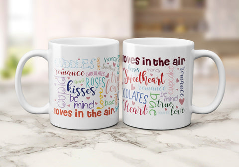 Word Art Valentine's Mugs 11oz / WhiteBee Free Prints