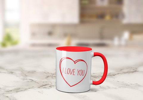Coloured Inside Valentine's Days Mug - 4 Types 11oz / Red - I Love YouBee Free Prints