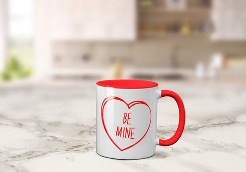 Coloured Inside Valentine's Days Mug - 4 Types 11oz / Red - Be MineBee Free Prints
