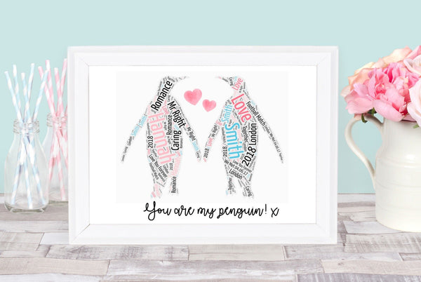 Personalise Valentines Days Penguin Word Art Frame