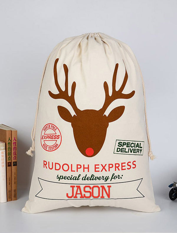 Personalised Christmas 'Reindeer Rudolph Express' Gift Sack With Name Print Bee Free Prints